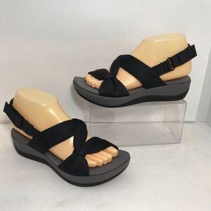 Clarks Cloudsteppers Black & Grey Strap Sandals 8